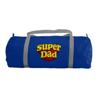 Super héroe azul amarillo rojo del día de padre bolsa de deporte