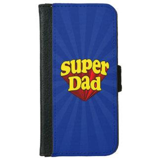 Super héroe azul amarillo rojo del día de padre funda cartera para iPhone 6