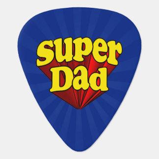 Super héroe azul amarillo rojo del día de padre uñeta de guitarra
