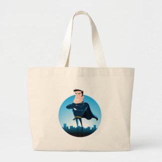 Super héroe azul cómico bolsa de mano