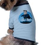 Super héroe azul cómico camisetas de perro
