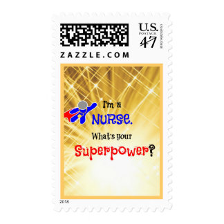 Super héroe de la enfermera timbre postal