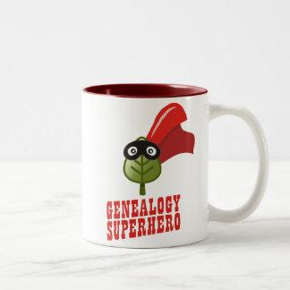 Super héroe de la genealogía taza de dos tonos