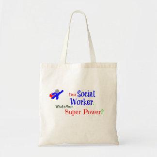 Super héroe del asistente social bolsa tela barata