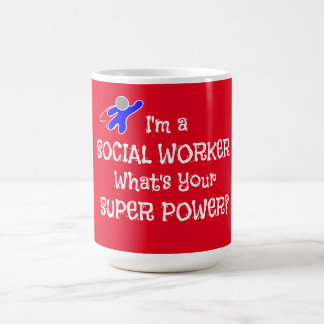 Super héroe del asistente social taza clásica