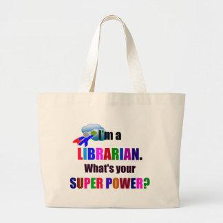 Super héroe del bibliotecario - diseño colorido bolsa tela grande