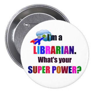 Super héroe del bibliotecario - diseño colorido pin redondo de 3 pulgadas