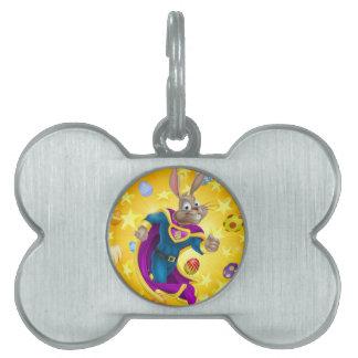 Super héroe del conejito de pascua placa de nombre de mascota
