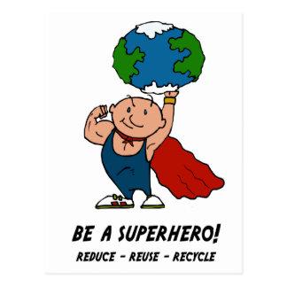 Super héroe del Día de la Tierra Tarjetas Postales