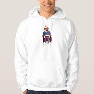 Super héroe del mono del calcetín jersey con capucha