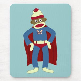 Super héroe del mono del calcetín mousepads