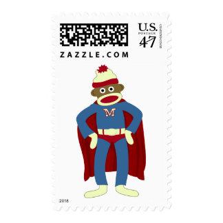 Super héroe del mono del calcetín timbres postales