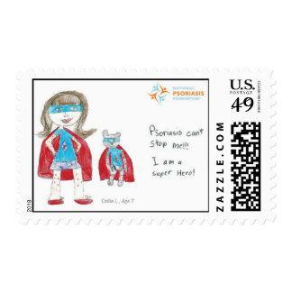 Super héroe del psoriasis sellos