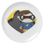 Super héroe lindo del dibujo animado plato para fiesta
