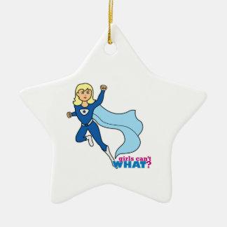 Super héroe - luz/Blonde Adorno Navideño De Cerámica En Forma De Estrella