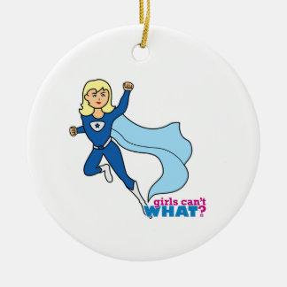 Super héroe - luz/Blonde Adorno Navideño Redondo De Cerámica