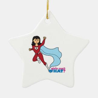Super héroe - medio adorno navideño de cerámica en forma de estrella
