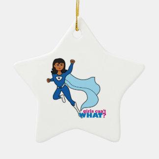 Super héroe - oscuridad adorno navideño de cerámica en forma de estrella