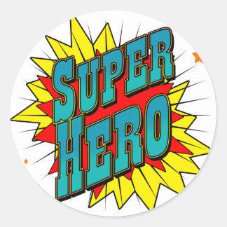 Super héroe pegatina redonda