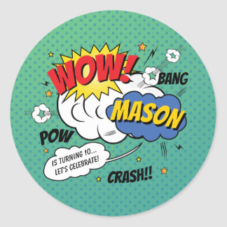 Super Heroes and Villains Kid's Birthday Party Classic Round Sticker