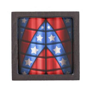 Super héroes - azules, rojo, estrellas del blanco caja de recuerdo de calidad