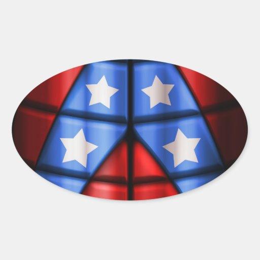 Super héroes - azules, rojo, estrellas del blanco colcomanias ovaladas