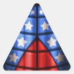 Super héroes - azules, rojo, estrellas del blanco pegatina triangular