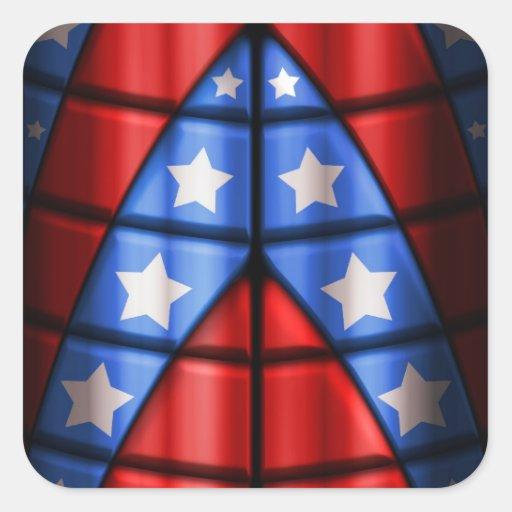 Super héroes - azules, rojo, estrellas del blanco pegatina cuadrada