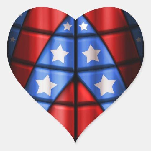 Super héroes - azules, rojo, estrellas del blanco pegatina en forma de corazón