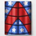Super héroes - azules, rojo, estrellas del blanco placas con fotos