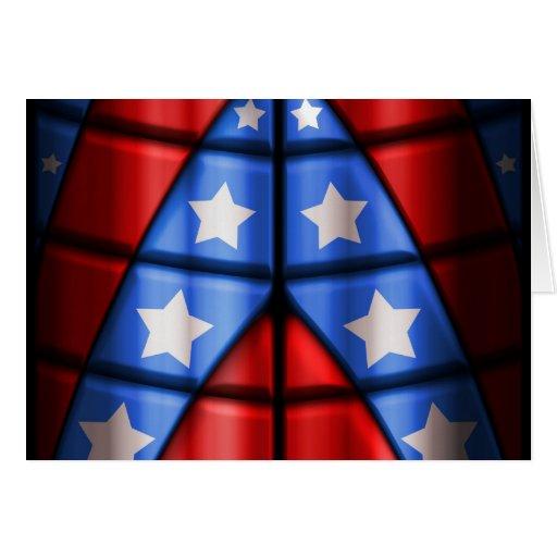 Super héroes - azules, rojo, estrellas del blanco tarjetas