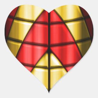 Super héroes - rojo y oro calcomanías corazones