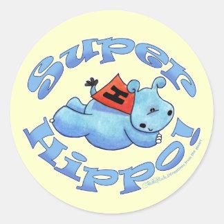 Super Hippo Round Stickers