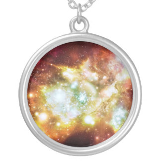 Super Hot and Bright Lynx Arc Star Cluster Round Pendant Necklace