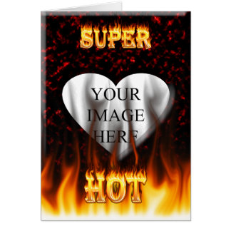 Super Hot fire and red marble heart Card