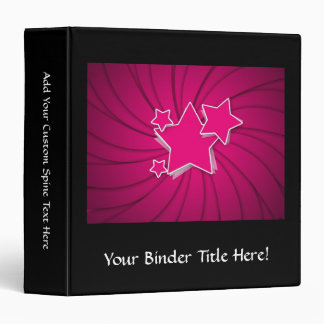 Super Hot Pink Stars and Swirl Background 3 Ring Binder
