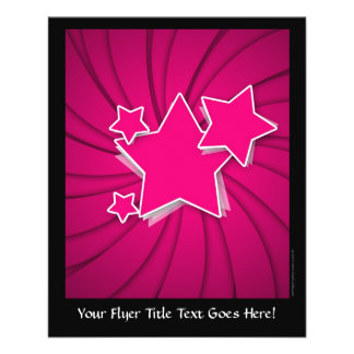"""Super Hot Pink Stars and Swirl Background 4.5"""" X 5.6"""" Flyer"""