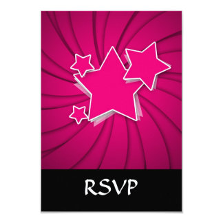 Super Hot Pink Stars and Swirl Background Card