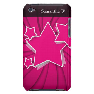Super Hot Pink Stars and Swirl Background iPod Touch Case-Mate Case