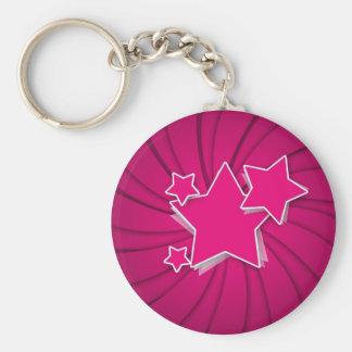 Super Hot Pink Stars and Swirl Background Keychain