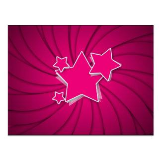 Super Hot Pink Stars and Swirl Background Postcard