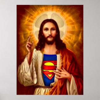 Super Jesus Oil Painting Print Poster