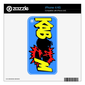 SUPER KABOOM blue Iphone Skin Skins For iPhone 4