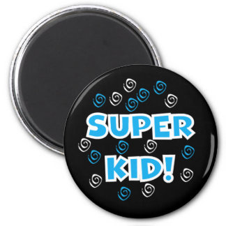 Super Kid Blue 2 Inch Round Magnet