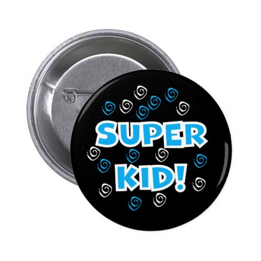 Super Kid Blue Pinback Button