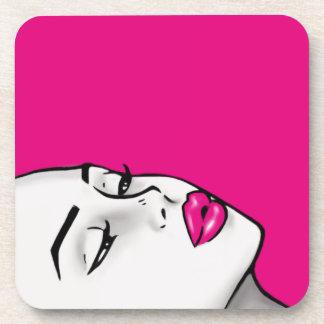 Super Lip Shade Girl (Customizable Lip Color) Drink Coaster