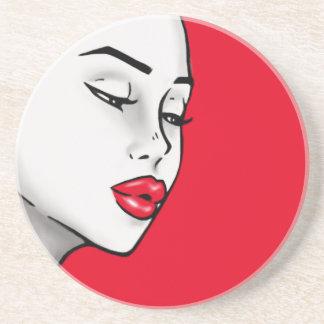 Super Lip Shade Girl (Customizable Lip Color) Sandstone Coaster
