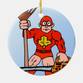 Super man in the garden christmas tree ornament