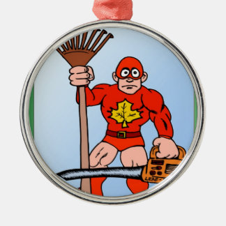 Super man in the garden christmas ornaments