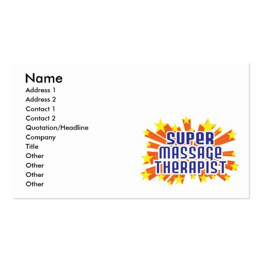 Super Massage Therapist Double-Sided Standard Business Cards (Pack Of 100)